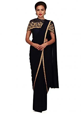 Navy blue pre stitched saree with fancy cape only on Kalki