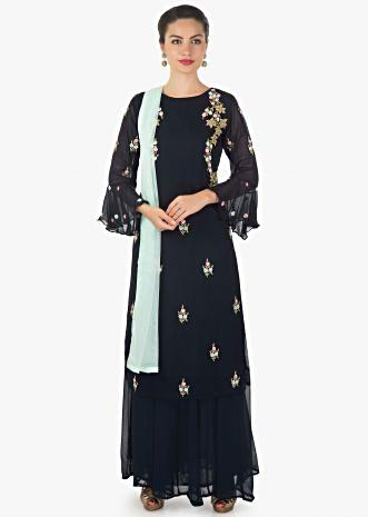 Navy blue straight palazzo suit adorn in cut dana and sequin embroidery
