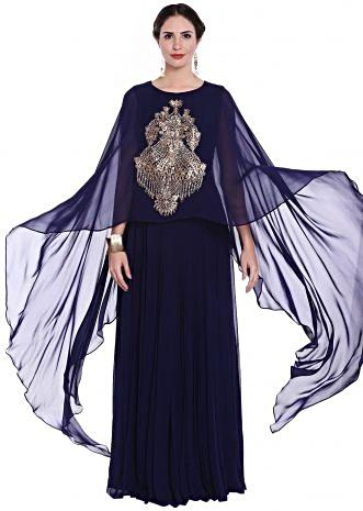 Navy blue suit with zardosi embroidered attached cape only on Kalki
