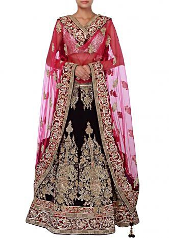 Navy blue velvet lehenga adorn in zardosi and stone embroidery only on Kalki