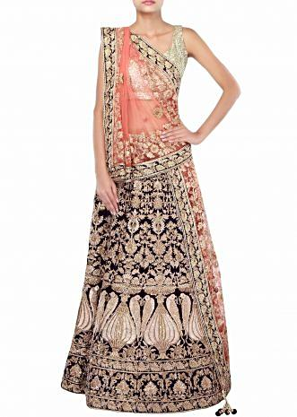 Navy blue velvet lehenga adorn in zarodis and zari embroidery only on Kalki
