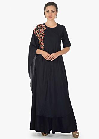 Navy blue anarkali dress matched with zardosi embroidered overlapping jacket