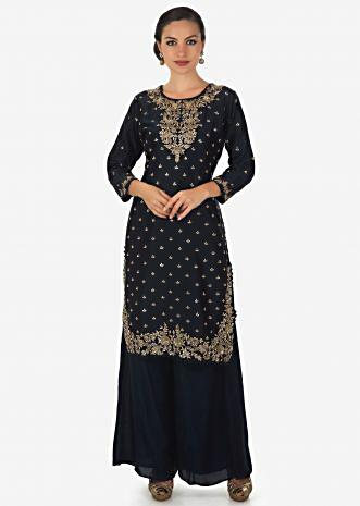 Navy blue straight palazzo suit adorn in zardosi and sequin  only on Kalki