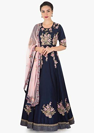 Navy blue anarkali suit in silk with pink resham and cut dana embroidery only on Kalki