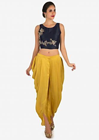 Navy blue and mustard dhoti suit enhanced in zardosi embroidered work only on Kalki