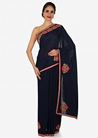 Navy Blue chiffon saree with unstitched blouse embellished in resham and zardosi work only on Kalki