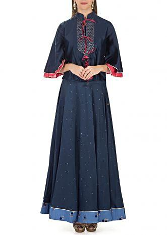 Navy Blue Cotton Silk Tie Up Top Featuring Sequins and Flared Skirt only on Kalki