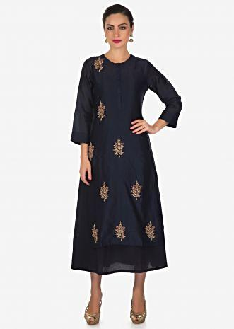 Navy blue double layer dress in cotton silk with in zardosi butti only on Kalki
