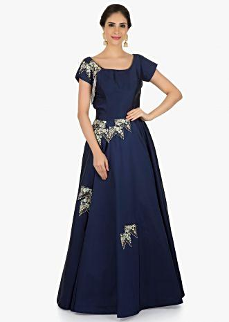 Navy Blue gown encrusted in resham floral motifs only on Kalki