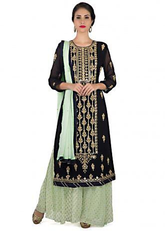 Navy blue straight palazzo suit in gotta lace and moti embroidery only on Kalki