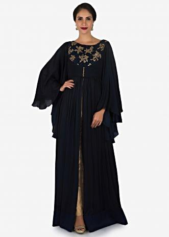 Navy blue suit with beige pants enhanced in resham and sequin embroidery work only on Kalki