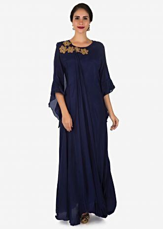 Navy blue tunic in cotton embellished in cut dana and zardosi flower butti work only on Kalki