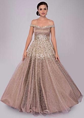 Off shoulder champagne beige gown with cut dana and salli
