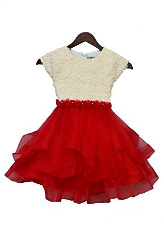 Off-white and Red Rose Frock By Fayon Kids