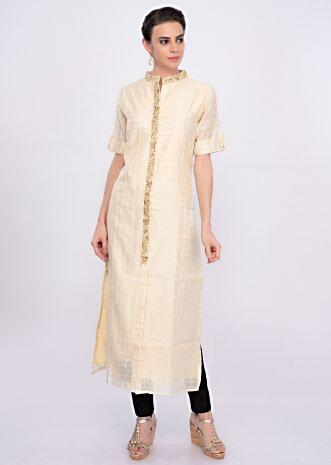 Off white chanderi cotton kurti in lace checks motif only on Kalki