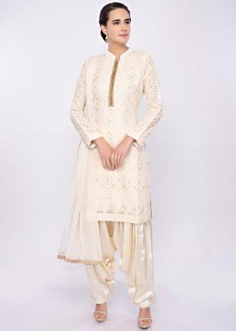 Off white chicken embroidered salwar suit only on Kalki