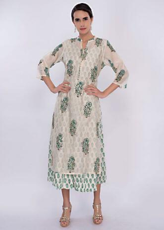 Off white cotton tunic dress with butti only on Kalki