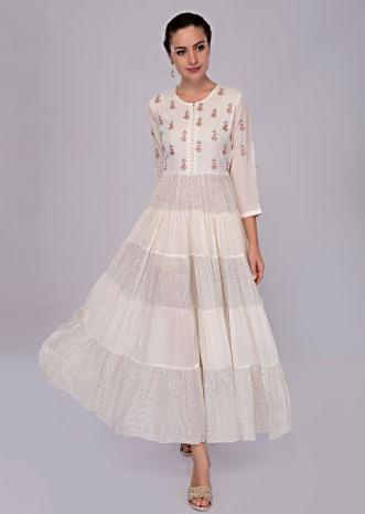 3f373d08cac Off white cotton tunic dress with resham embroidered ...