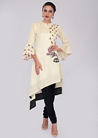 Off white front short back long cotton kurti with one side resham embroidery