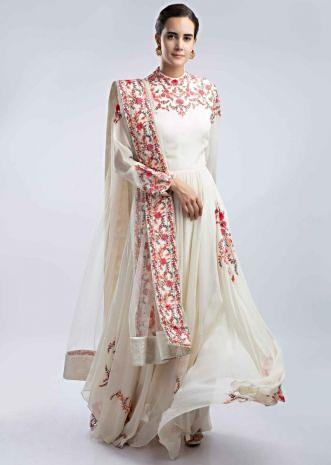 af2a62a86ca Off white georgette anarkali with multi color floral resham embroidery only  on Kalki ...