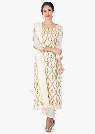 Off white georgette  suit with a straight pant and a chiffon dupatta