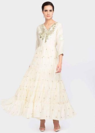 dc8f1ed377f Off white long cotton tunic dress with lace embroidered placketonly on  Kalki ...