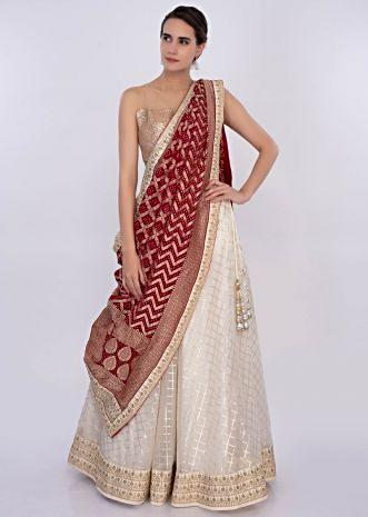 Off white organza lehenga set with red bandhani dupatta only on Kalki