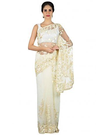Off white saree in net with self color sequin and cut dana embroidery only on Kalki