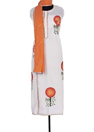 Off white semi stitched cotton suit in floral resham butti only on Kalki