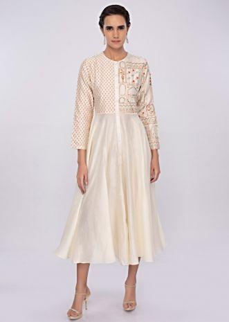 Off white silk kurti with print and embroidered bodice only on kalki