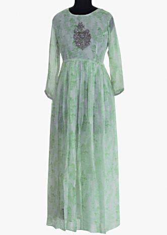 Off white tunic dress cut dana and sequins embroidery on the center bodice