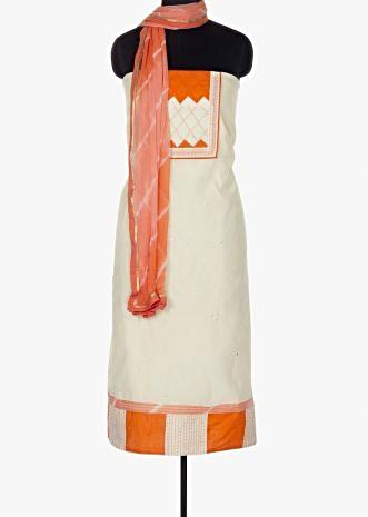 Off white unstitched suit paired with orange bottom and lehariya printed  chiffon dupatta