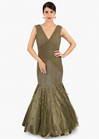 Olive green fish tail net gown with flared bottom only