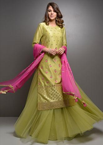 Olive green gota jaal embroidered suit with net skirt and rani pink dupatta