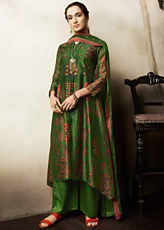 Olive green unstitched suit in cotton with floral butti and printed neckline