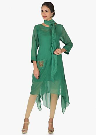 Olive green tunic adorn in zardosi embroidered work only  on Kalki