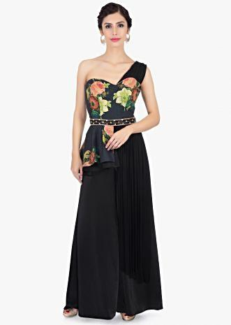 One shoulder floral printed black jumpsuit in peplum style only on Kalki
