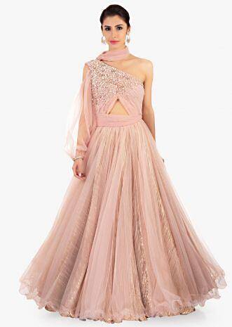 One shoulder pink net gown with rushing