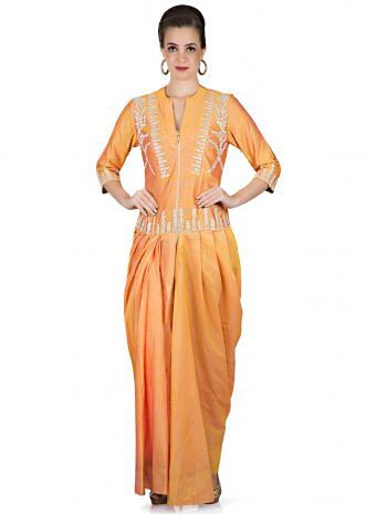 Orange and Mustard Silk Gown Crafted with Embroidered Motifs Only on Kalki