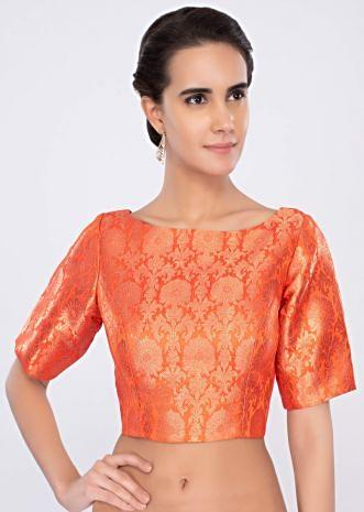 Orange high neck brocade blouse only on kalki