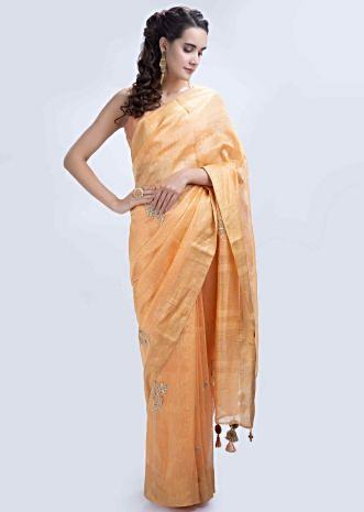757b13ef1 Orange linen saree with embroidered butti only on Kalki ...
