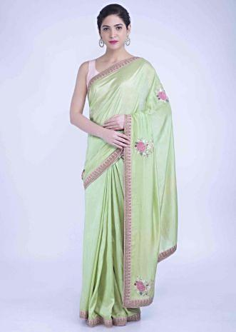 87902a9ff0 Oxfam green silk saree with match with matching blouse piece only on Kalki