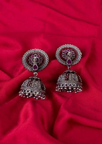 Oxidized jhumkas in peacock motif only on Kalki