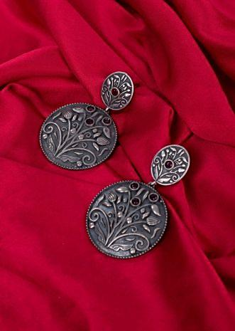 Oxidized round shield earring only on Kalki