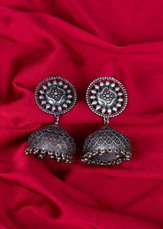 Oxidized round studs with uncut jhumkas  only on Kalki