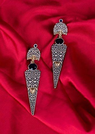 Oxidized  self carved dangler earring only on Kalki