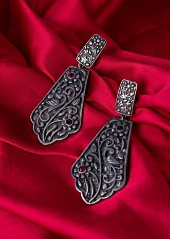 Oxidized silver coated self carved earrings only on Kalki