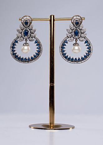 Oxidized traditional drop earring with stone work