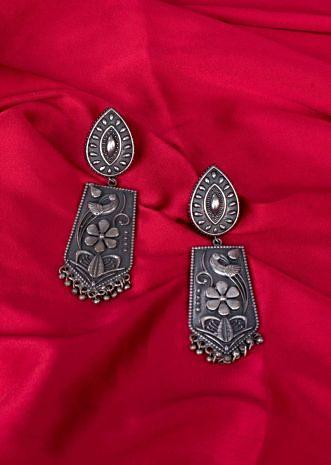 Oxidized tribal style drop earring only on Kalki