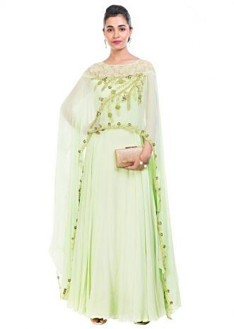 Pale Green Cape Gown